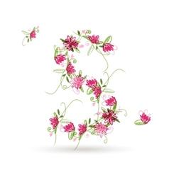 Floral letter S for your design vector