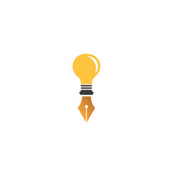 fountain pen in a light bulb for logo design lamp vector image