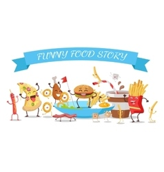 Funny Food Story Conceptual Banner Childish Menu vector image