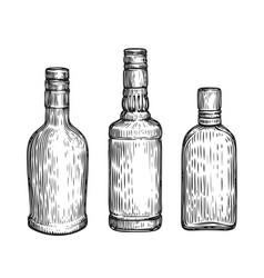 glass bottles set alcoholic drinks sketch vintage vector image