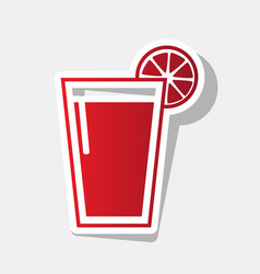 glass of juice icons new year reddish vector image