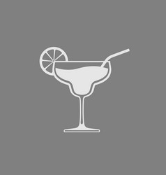 glass with cocktail placed on gray background vector image