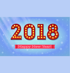 greeting card with the new coming 2018 the text vector image