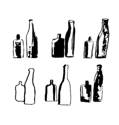hand drawn bottles vector image