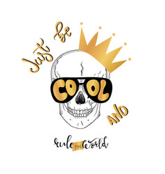 hand drawn skull and lettering text vector image