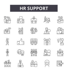 Hr support line icons signs set outline vector