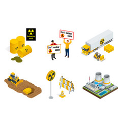 Isometric set of radioactive waste elements vector