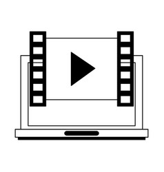 laptop with video player symbol in black and white vector image