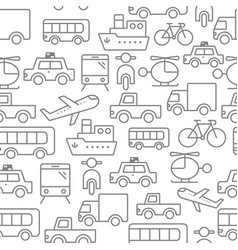 Line icons seamless pattern transport vector