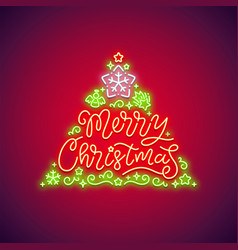 merry christmas neon sign red vector image