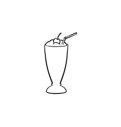 Milk cocktail in tall glass hand drawn sketch icon vector