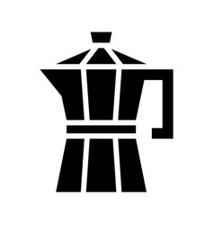 Moka pot coffee related solid style vector