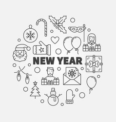 new year line greeting card vector image