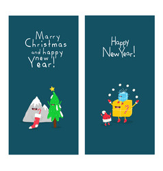 new years card with a mountain and a gift vector image