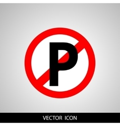 No parking sign icon on gray background vector