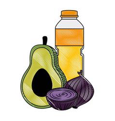 Oil bottle with vegetables vector