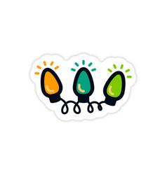 Paper sticker on white background garland vector