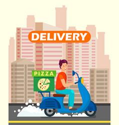 pizzeria worker delivering dinner vector image