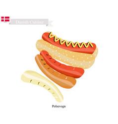 Polsevogn or hot dog a polpular food of denmark vector