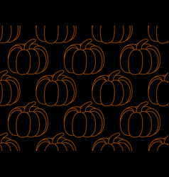 pumpkin seamless pattern on black background vector image