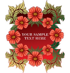 Red floral border vector