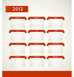 Red vintage retro calendar for the new year 2012 vector