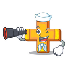sailor with binocular retro plus sign addition vector image