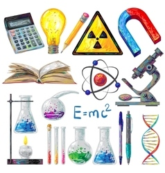 Scientific Objects And Formulas Icons Set vector