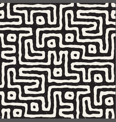 Seamless pattern with maze lines monochrome vector