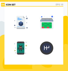 Set 4 flat icons on grid for printer phone vector