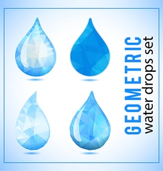 Set of geometric crystal water drops icons vector