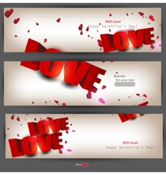 set of three banners with words love and hearts va vector image