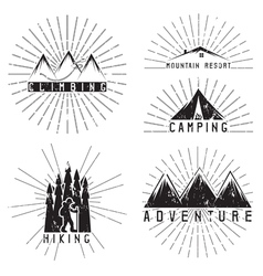 set of vintage labels mountain adventure climbing vector image