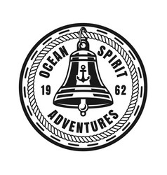 Ship bell round nautical vintage badge vector