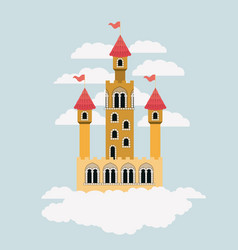small yellow castle of fairy tales in sky vector image