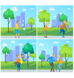 smiling pensioners walking in urban park vector image