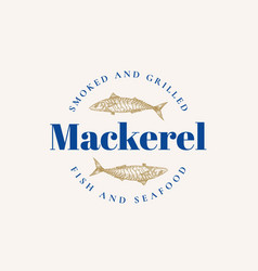 smoked and grilled mackerel abstract sign vector image