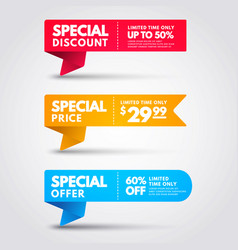 special price banner collection discount flag set vector image