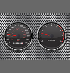 Speedometer and tachometer on metal perforated vector