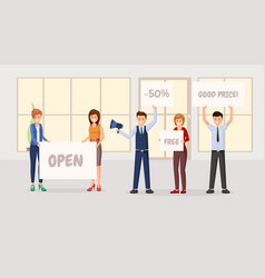store grand opening flat vector image