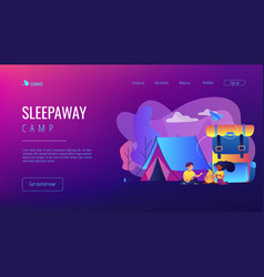 Summer camp concept landing page vector