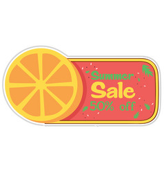 summer sale 50 off orange background image vector image