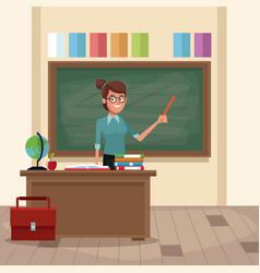 Teacher in classroom vector