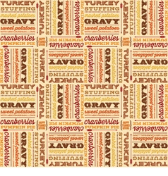 Thanksgiving foods in retro fonts seamless vector