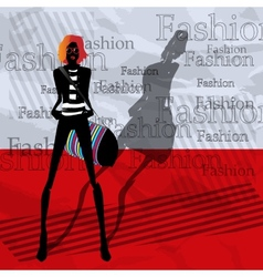 The fashionable girl with a bag on a red vector