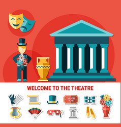 theatre flat colored composition vector image