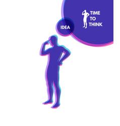 Thinking man silhouette of a standing man idea vector