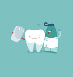 tooth and dentist selfie with smartphone together vector image