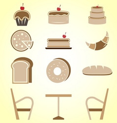 Variety of bakery color icons in coffee shop vector image