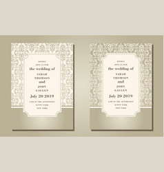 vintage ornate cards in oriental style line art vector image